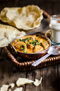 Indian Butter Chicken with Papadam, rice, and lassi - SBDF03903