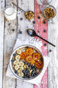 Cereals with banana, blueberries, blood orange, coconut flakes and milk - SARF04123