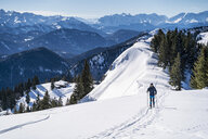 Germany, Bavaria, Brauneck, man on a ski tour in winter in the mountains - DIGF05942