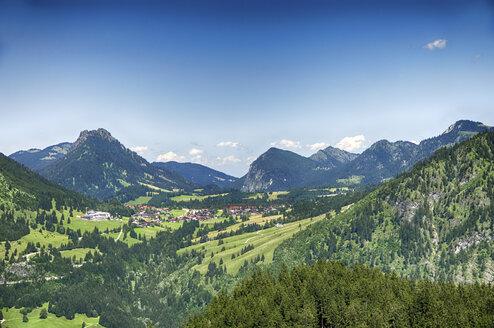 Blick vom Imberger Horn auf Oberjoch, Deutschland, Bayern, Oberallgäu, Hindelang - ALEF00103