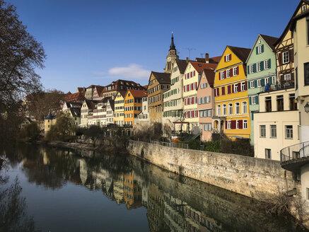 Germany, Baden-Wuerttemberg, Tuebingen, Neckar River with Hoelderlin-Tower and abbey church - LVF07837