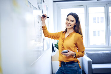 Portrait of smiling businesswoman taking notes on whiteboard in office - BSZF01036