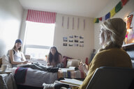 Female college students studying in dorm room - HEROF24713