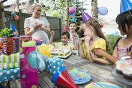 Birthday boy with cake cheering at backyard party - HEROF25532