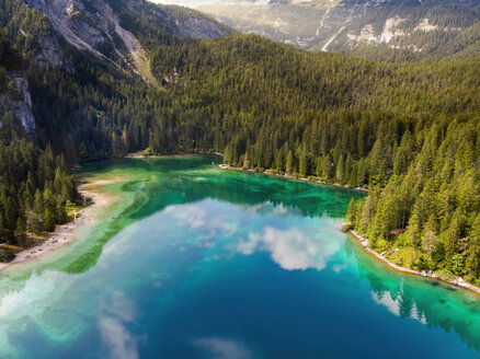 Italy, Trentino, South Tirol, Non Valley, aerial view of lake Tovel in summer - LOMF00842