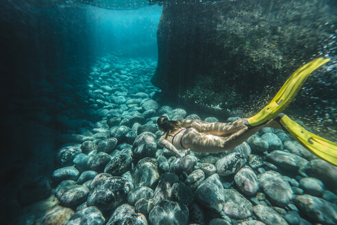 High angle view of woman diving undersea - CAVF61109