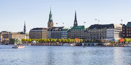 Germany, Hamburg, cityscape with Binnenalster and Jungfernstieg - WDF05137