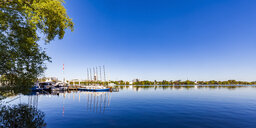 Germany, Hamburg, sailboats in harbour on Alster Lake - WDF05158
