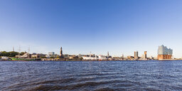 Germany, Hamburg, cityscape with Elbe Philharmonic Hall seen from the water - WDF05176