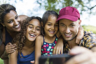 Happy family taking selfie with camera phone - CAIF22827