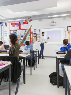 Male teacher leading lesson at projection screen in classroom - CAIF22923