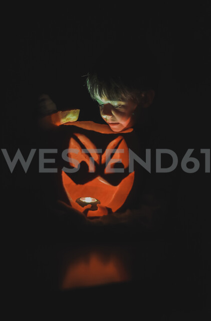 Boy looking at illuminated jack o' lantern in darkroom during Halloween - CAVF61770 - Cavan Images/Westend61