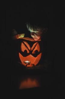 Boy looking at illuminated jack o' lantern in darkroom during Halloween - CAVF61770