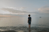 Rear view of boy standing at shore against sky during sunset - CAVF61845