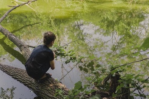 Full length of boy fishing while crouching on fallen tree in lake at forest - CAVF61848