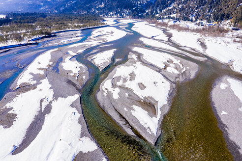 Austria, Tirol, Lech valley, Lech river in winter, aerial image - STSF01866