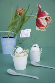 Easter decoration, Note: Ei love you, Easter egg in egg cup, tulip, egg spoon - GISF00393