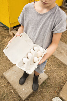 Boy holding eggs at chickenhouse in garden - MFRF01241