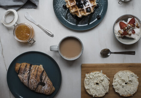 Overhead view of fresh breakfast on table - CAVF62319