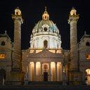 Austria, Vienna, St. Charles's Church at night - ZEDF01956