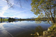Germany, Bavaria, Fuessen, Alpine Foreland, silence over mountain lake - DLF00054