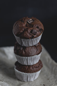 Chocolate muffins, stacked - STBF00224