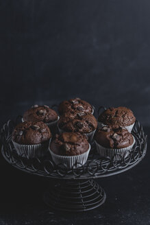 Chocolate muffins on cake stand - STBF00227