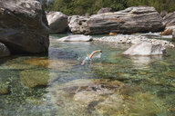 Switzerland, Ticino, Verzasca Valley, woman swimming in refreshing Verszasca river - GWF05965