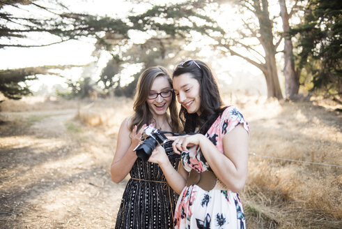 Happy sisters looking photographs in camera while standing against trees at forest - CAVF62474