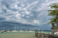 Germany, Lake Constance, Hagnau, boats anchoring, weather front - SH02081