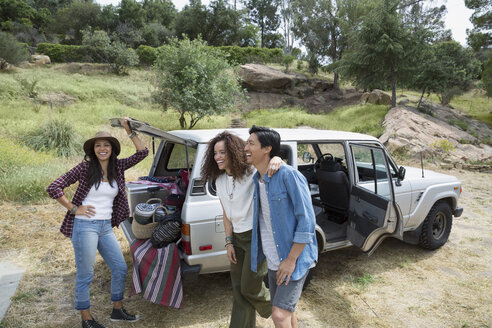 Young friends with picnic equipment at car - HEROF27129