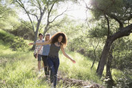 Young friends walking in sunny woods - HEROF27153