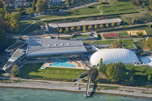 Germany, Baden-Wuerttemberg, Lake Constance, Constance, aerial view of outdoor pool - SH02112