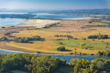 Germany, Baden-Wuerttemberg, Lake Constance, Constance, aerial view Wollmatinger Ried in autumn - SH02118