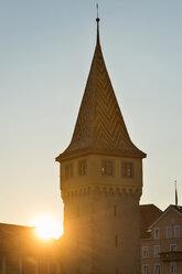 Germany, Bavaria, Lake Constance, Lindau, sunset behind Mang Tower - SH02127