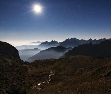 Scenic view of silhouette mountains against blue sky at night - CAVF62881