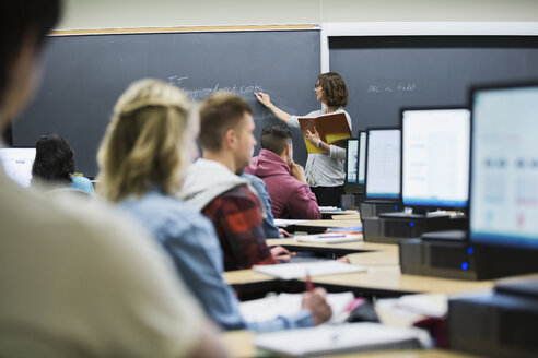 Professor leading lesson in computer lab classroom - HEROF27751