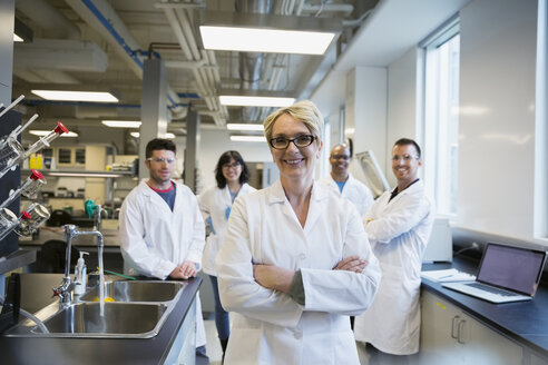 Portrait smiling scientists in laboratory - HEROF27859