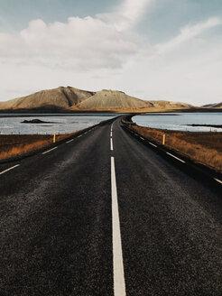 Iceland, Kirkjufell, Black Road Through Icelandic Landscape - JUBF00331