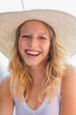 Young blond haired woman in straw hat, portrait - CUF49598
