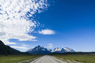 Chile, Patagonia, Straight road leading through the Torres del Paine National Park - RUNF01486