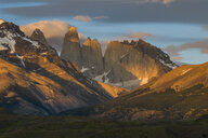 Chile, Patagonia, Torres del Paine National Park, mountainscape in early morning light - RUNF01492