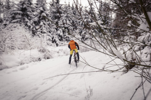 Man with mountainbike on path in winter forest - SEBF00050