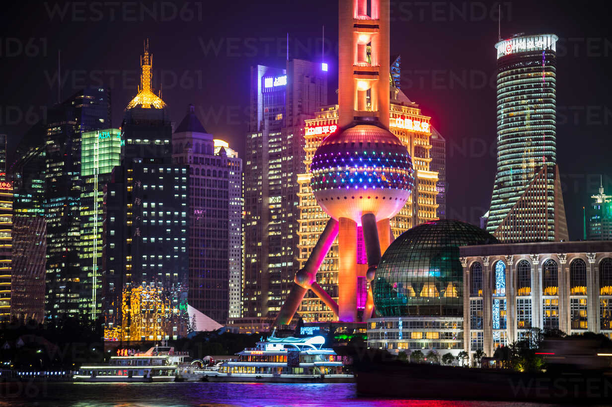 Pudong skyline with Oriental Pearl Tower at night, Shanghai, China - CUF49832 - Henglein and Steets/Westend61