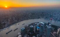Pudong and Huangpu river at sunset, Shanghai, China - CUF49838
