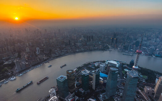 Pudong and Huangpu river at sunset, Shanghai, China - CUF49838