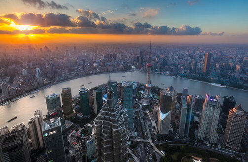Pudong skyline and Huangpu river at sunset, high angle view, Shanghai, China - CUF49844