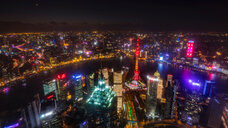 Cityscape with Pudong and Huangpu river at night, high angle view, Shanghai, China - CUF49847