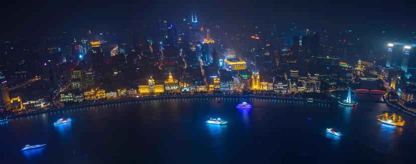 Bund and Huangpu river at night, high angle panoramic view,  Shanghai, China - CUF49859
