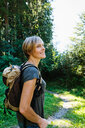 Woman exploring forest, Sonthofen, Bayern, Germany - CUF49874